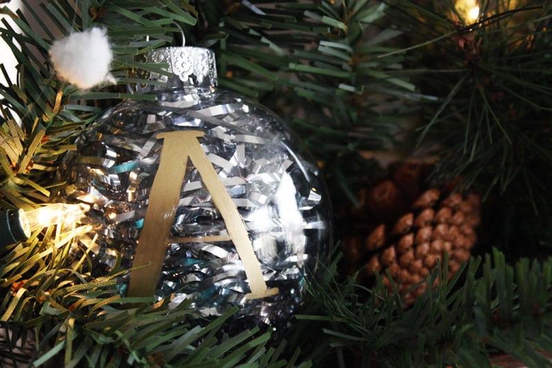 DIY christmas ornaments monogram gold