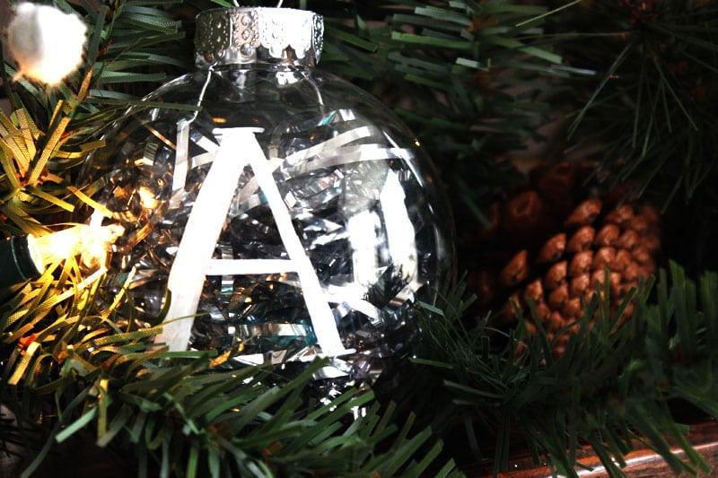 DIY christmas ornaments monogram white