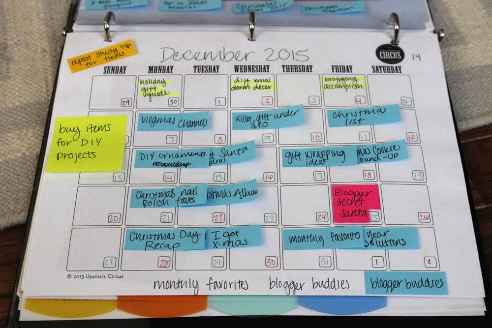 editorial calendar for blogging