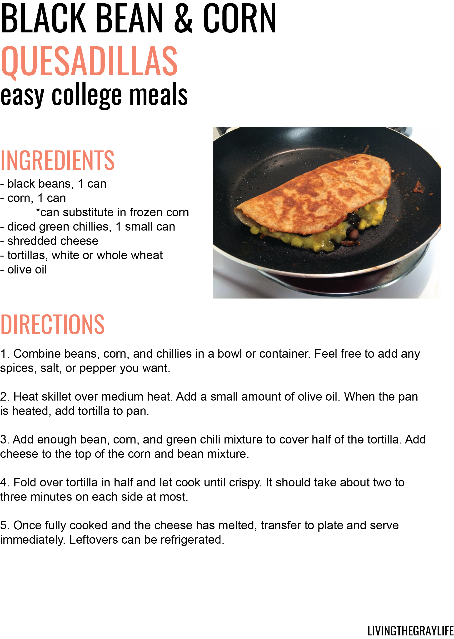 easy college meals black bean and corn quesedilla