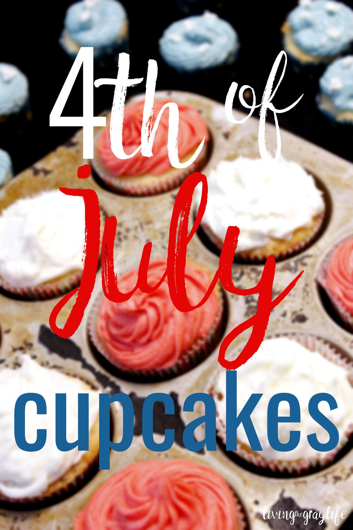 An easy, simple, delicious recipe for festive 4th of July cupcakes.
