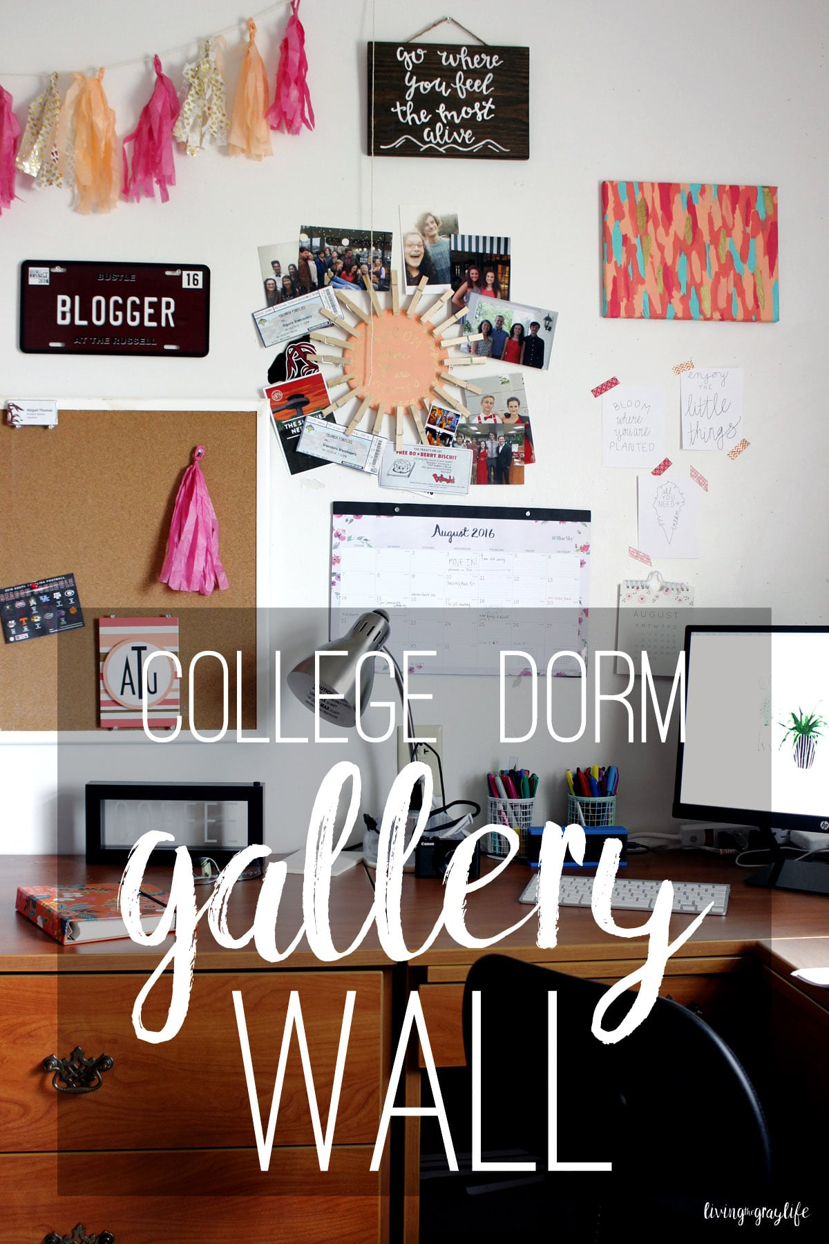 Want your dorm room to feel more homey? Create a gallery wall! See what I use to make my gallery wall, what items are perfect, and the end result.