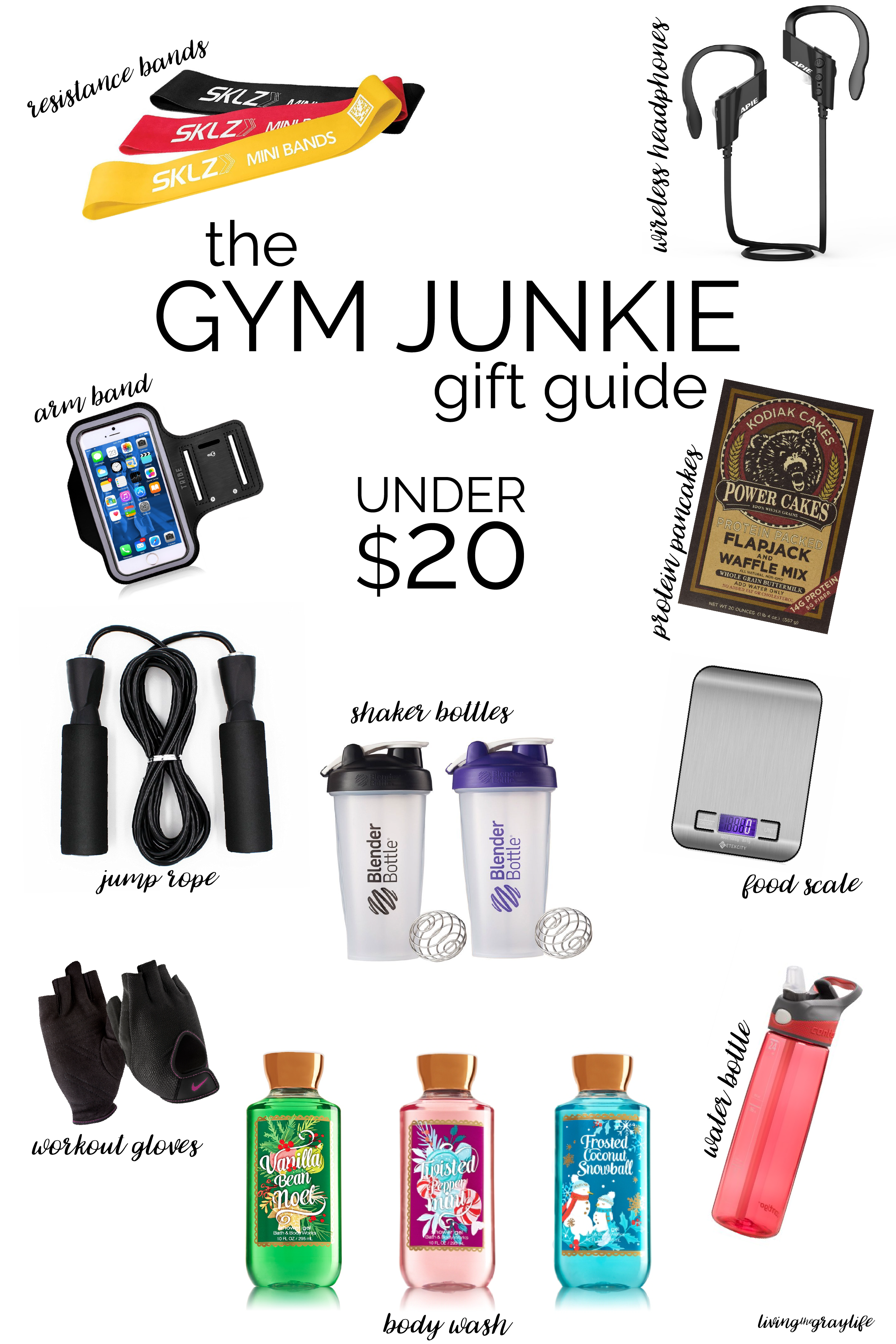 FITNESS GIFT GUIDE. Perfect gifts for the gym junkie in your life. All under $20! | Gym Junkie Gift Guide