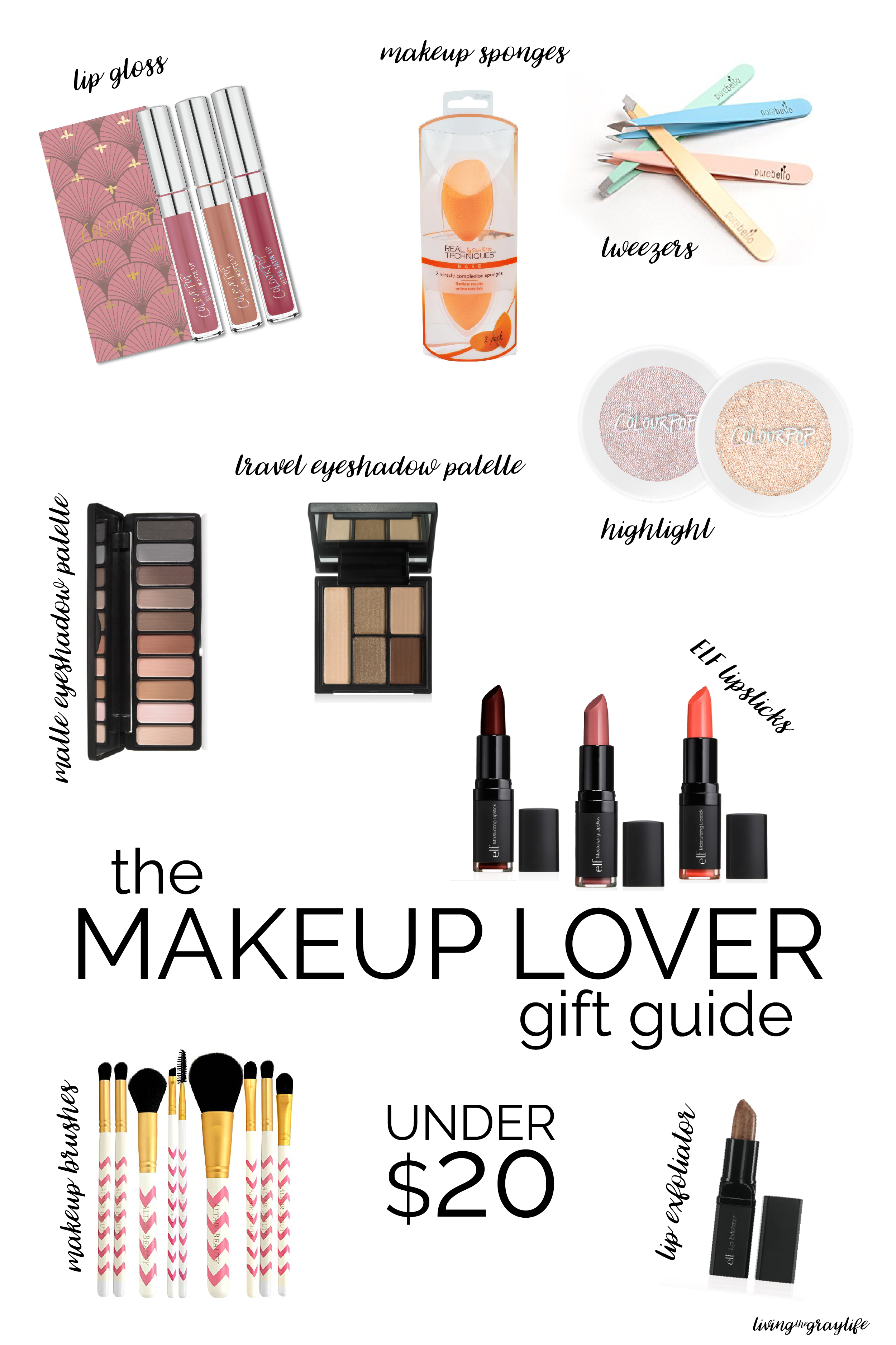 Perfect gifts for the makeup lover in your life. All under $20! | Makeup Lover Gift Guide