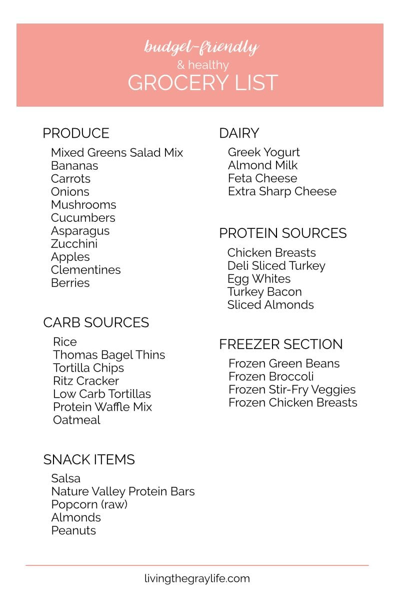 budget friendly healthy grocery list living the gray life
