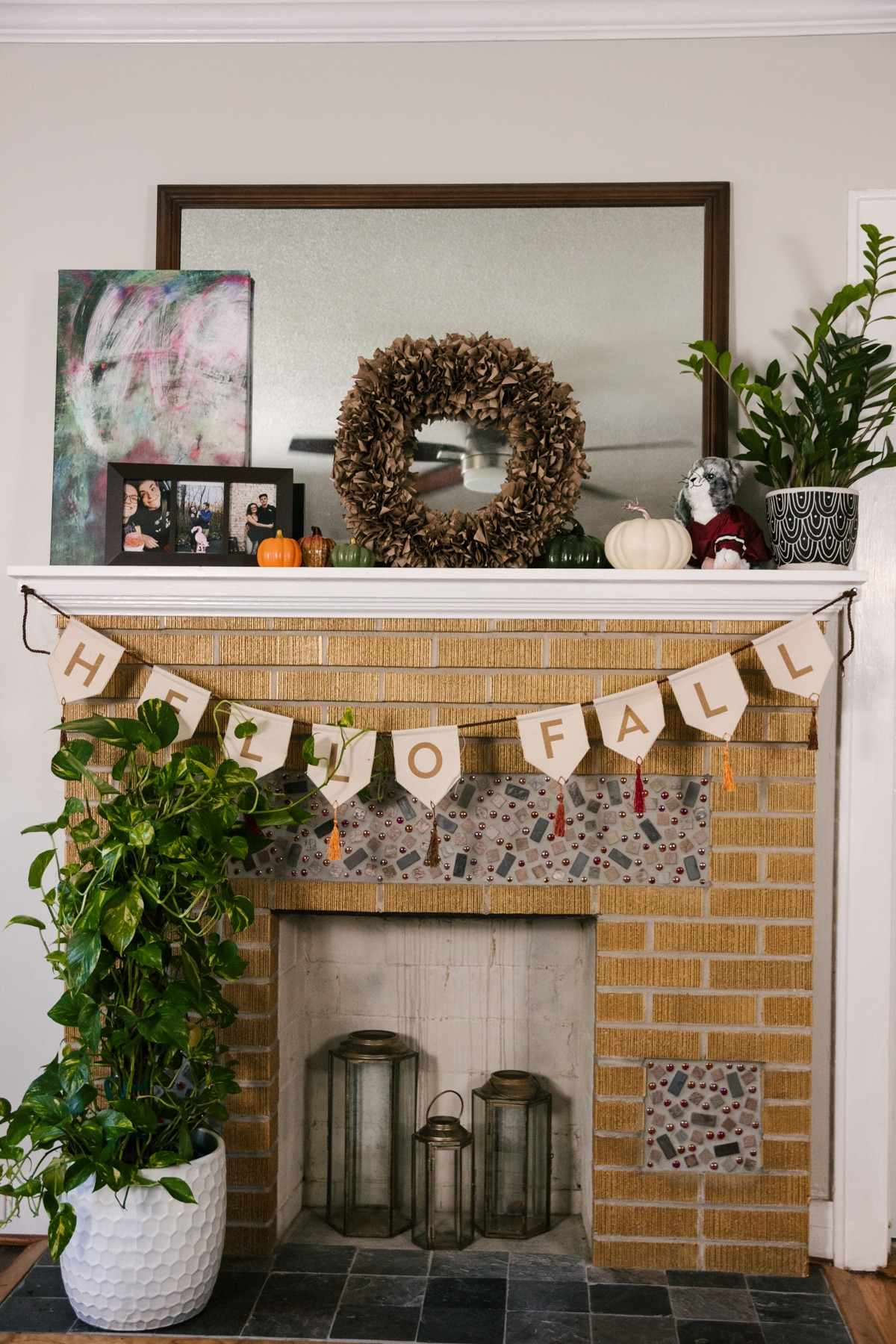 Diy Fall Wreath My Fall Mantle Decor Living The Gray Life